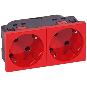 SKT 2X2P+E SCH 45 RED Multi-support multiple socket Mosaic - 2 x 2P+E automatic terminals