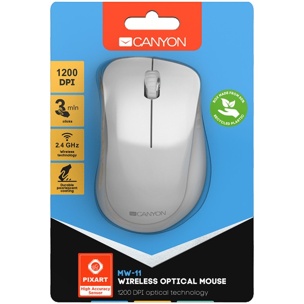 Canyon  2.4 GHz  Wireless mouse with 3 buttons DPI 1200 Battery:AAA*2pcs  pearl