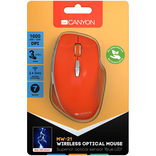 Canyon  2.4 GHz  Wireless mouse with 7 buttons DPI 800/1200/1600 Battery:AAA*2pcs  Red